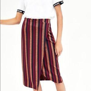 🌟 NEW ZARA Striped Shimmer Skirt